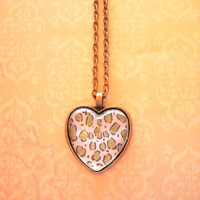 leopard pink glass dome heart necklace for tween or teen girl