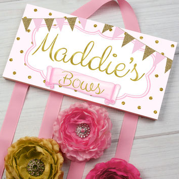 HAIR BOW HOLDER - Personalized Soft Pink and Gold Dots HairBow Holder Organizer - Girls Personal Hair Bow and Clip Hanger HB0175