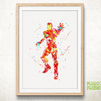 Iron Man Avengers Marvel Superhero - Watercolor Art Print, Room Decor, Poster, Home Baby Nursery Wall Art
