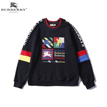 Burberry autumn and winter new color embroidery letter round neck loose men and women round neck sweater Black