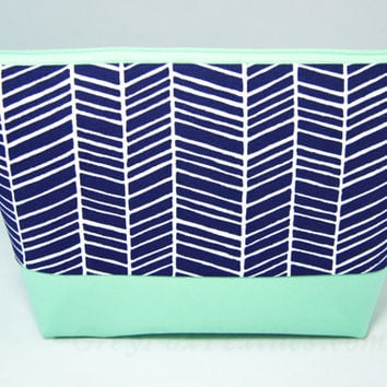 Chevron Makeup bag, blue and mint green bag,  navy blue makeup bag, handcrafted zipper pouch, zig zag, herringbone print