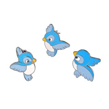 Trendy 3Pcs/set Flying Birds Cartoon Cute Brooch Pin Denim Jacket Clothing Pins Badge Metal Enamel Men Women Brooches Fashion Jewelry AT_94_13