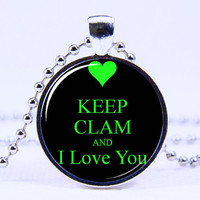 Art Pendant necklace-  Keep calm   necklace,Silvery necklace,L Love you necklace