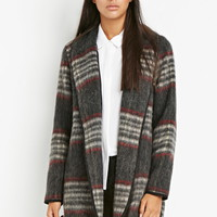 Contemporary Plaid Open-Front Coat