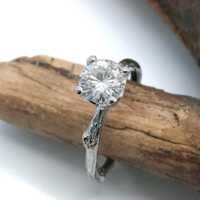 Moissanite twig engagement ring, large center stone, 14k gold, 1.25 carat, prong setting