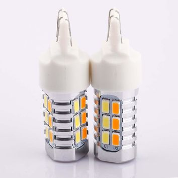 2X 7443 22SMD Dual Color Switchback Turn Signal LED Light Bulbs White & Amber