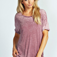 Nina Burnout Roll Back Sleeve Oversized Tee