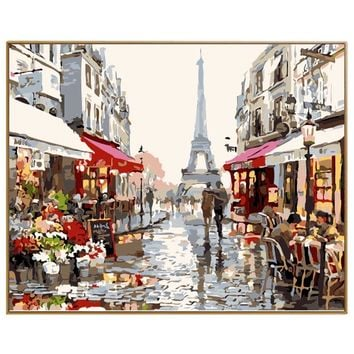 PHKV Paris Street DIY Painting By Numbers Picture Drawing Color Wall Art Picture Home Decor Acrylic Paint On Canvas For Artwork