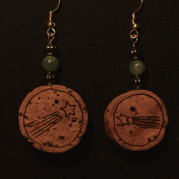 Dangle Cork Earrings, Champagane Lovers, Turquoise, Quirky, Handmade, One of a Kind, Shooting stars
