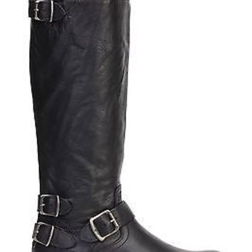 Frye Womens Veronica Back Zip Knee High Boots Black Leather