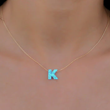 Opal necklace, opal letter necklace, opal gold necklace, opal jewelry, tiny dot necklace, opal bead necklace, blue opal necklace