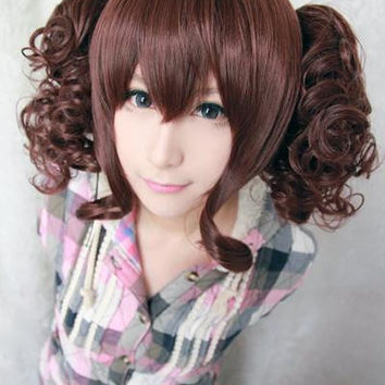 35cm short synthetic heat resistant curly BROWN lolita wig ponytails,Colorful Candy Colored synthetic Hair Extension Hair piece 1pc WIG-301C