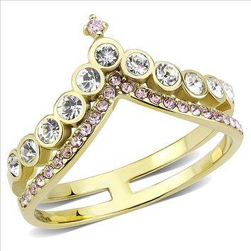 14K Yellow Gold 1.80TCW Round Cut Russian Lab Diamond Chevron Ring with Rose Accents