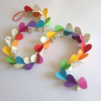 3D Heart Garland-Music Sheets & Rainbow Colours,Baby Mobile,Nursery Decor,Crib Mobile,Baby Shower,Decoration,Party,Birthday,Chakra