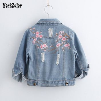 Yorkzaler Baby Girl Clothes Jacket Embroidery Floral Long Sleeve Denim Kids Outerwear Autumn Baby Jeans Hole Ripped Coats