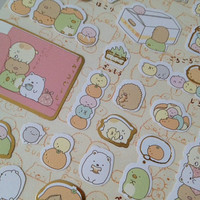 kawaii Cartoon sticker Japanese lazy fat pet seal sticker cute version food monster mini food icon japan drink Grocery store recipes label