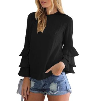 Women Ruffles Shirt O-Neck Pullover Long Puff Sleeve Blouse Sweet Women Loose Shirt Summer Tops Blusas
