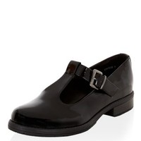 Wide Fit Black Patent Chunky T-Bar Strap Shoes