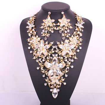 Hot design big floral bridal jewelry set