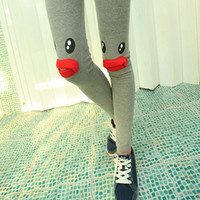 Cute cartoon eyes red lip leggings(1121F)