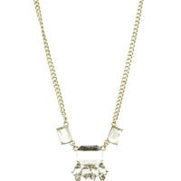 NECKLACE / FACETED HOMAICA STONE / BIB / CRYSTAL STONE / METAL SPIKE FRINGE / LINK / CHAIN / 14 INCH LONG / 1 3/4 INCH DROP / NICKEL AND LEAD COMPLIANT