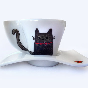 Cute Black Cat Cup with Saucer, Hand Painted Porcelain, Espresso Cup, Coffee Cup