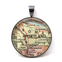 Map Pendant of Portland Oregon in by CarpeDiemHandmade