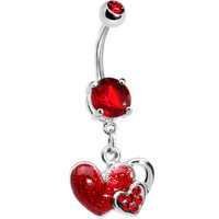 Ruby Red Gem Falling For You Heart Belly Ring | Body Candy Body Jewelry