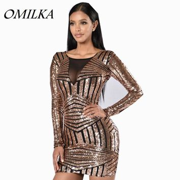 OMILKA 2017 Autumn Winter Women Long Sleeve Geometrical Printed Bodycon Sequined Dress Sexy Shiny Club Party Mini Sequin Dress