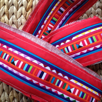 2 Yards Thai Lisu Hilltribe Quilted Fabric Hmong Textile Red Striped  #302