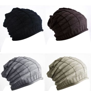 Hot New 2016 Winter Women Men Thick Warm Retro Cable Caps Unisex Knitted Gorro Baggy Slouch Beanies Hats Cap touca Cheap Z2