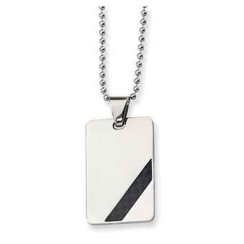 Stainless Steel Diagonal Pattern Dog Tag Pendant Necklaces - 42x24mm Bead