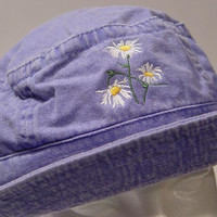 WILD DAISY April Flower of Month XL Bucket Hat - Embroidered Women Garden Cap - 10 Colors Available - Price Apparel Embroidery
