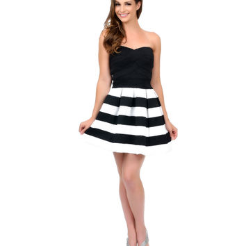 Black & White Striped Strapless Bandage Flare Short Dress Prom 2015
