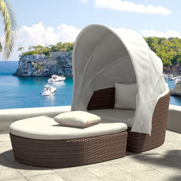 2017 Top Sale Outdoor brown rattan bali daybed