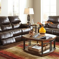 2 pc pranas collection brindle colored faux leather upholstered sofa and love seat set with recliners on the ends