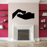 Hand and Dog Paw Silhouette Vinyl Wall Decal Sticker Graphic