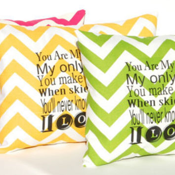 Chevron Pillow Cover 12 x 16 Typography You Are My Sunshine Pink Green Yellow with Black Letters Initials Decorative Throw Pillow Cover