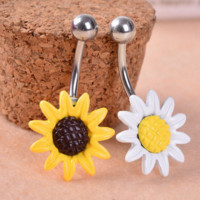 Fashion Sun Flower Medical Stainless Steel Piercing Belly Button Rings Body Piercing Navel Jewelry-0601
