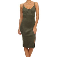 Reign Suede Bodycon Midi Dress - Olive