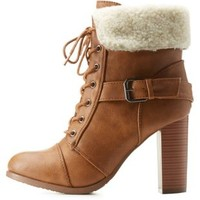 Camel Belted Sherpa-Collared Lace-Up Booties by Charlotte Russe