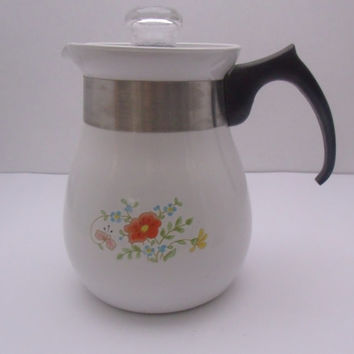 Corning Ware Wildflower Percolator Coffee Pot  6 Cup P-166 Excellent