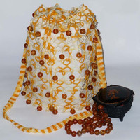 "Tatting bag-pouch ""Music amber"" - Summer fashion - gift for her"