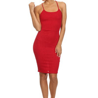 Spaghetti Strap Glitter Textured Knit Bodycon Dress - Red