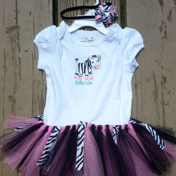 2nd Birthday Outfit - Zebra Tutu - Boutique Hair Bow - Little Cutie - 24 months