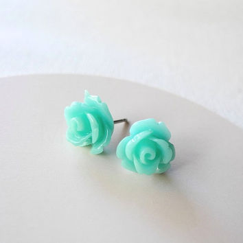 Mint Rose Earring Studs - Mint Jewelry - Mint Flower Earring Posts - Floral Jewelry