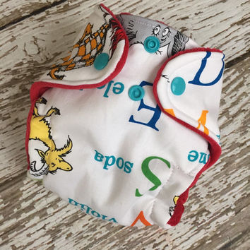 Dr. Suess ABC newborn hybrid fitted cloth diaper