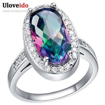 Bijoux Colorful Rings for Women Silver Purple Cubic Zirconia Anel Feminino Pink Stone Engagement Ring Size 6 7 8 9 Uloveido J072