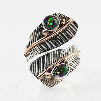 Mystic Topaz Adjustable Sterling Silver Leaf Ring