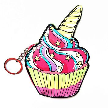 Unicorn Cupcake Keyring Coin Purse
